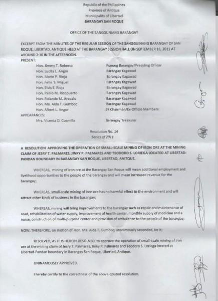 Sangguniang Barangay Resolution